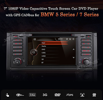 BMW E39 E38 M5 7 1080P Video Capacitive Touch Screen DVD Player with GPS Canbus
