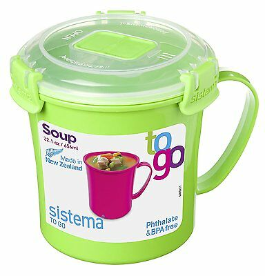 Sistema Klip It Microwave Soup To Go Mug 656ml Work Lunch Snack Assorted Colour