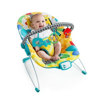 Bright Starts Safari Smiles Bouncer, Baby Rocker Chair with Toy Bar