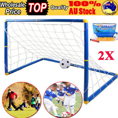 2X Portable Football Gate Soccer Goal Pop Up Net Kids Outdoor Play Training Toy
