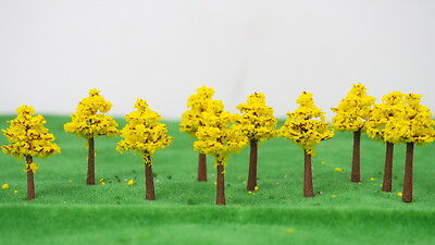 Outland Models Train Railroad Landscape 30mm Yellow Leaf Tree x10 N Z Scale