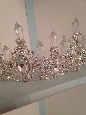 Ice Maiden Tiara . Silver Tiara With 'ice Crystals ' .Stage Prop .Free EARINGS
