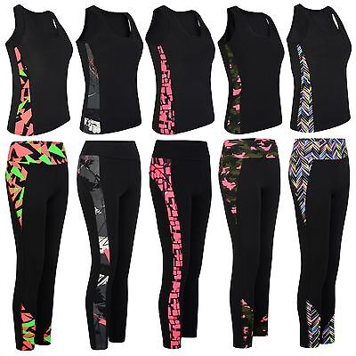 Ladies Gym Sports Vest Leggings Women Active Run Wear Tight Top Yoga Pants S-XL