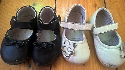 2 PEDIPED black leather DYMPLES white leather baby shoes 12-18m 3 as new