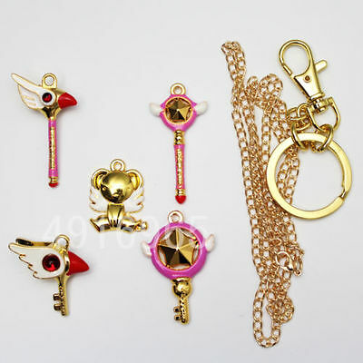 Anime CARDCAPTOR SAKURA Necklace&Keychain Cute Pendant Lovely Card Captor 5pcs