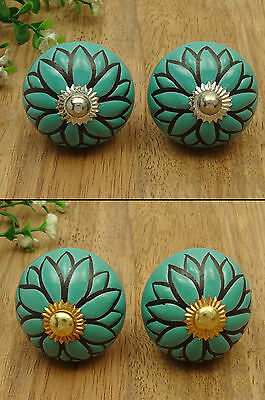 Ceramic Drawer Floral Decorative 1 Pair Cabinet Door Unique Kitchen Pull Knobs