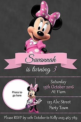 Personalised Minnie Mouse Birthday Party Invitation - You Print