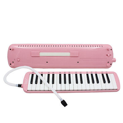 New 37 Key Pink Melodica Pianica Keyboard Mouthpiece Music Instrument + Bag