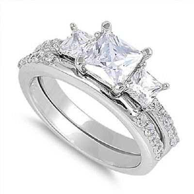 STERLING SILVER Simulated Diamond 3 Stone Engagement Wedding 2 Ring Set Size 7 N