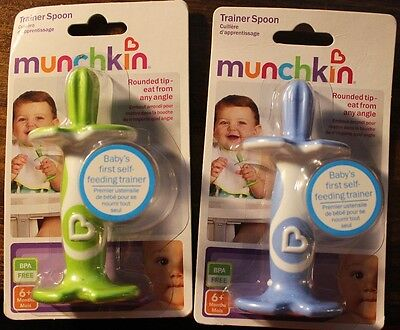 (2) Munchkin Trainer Spoons - Blue & Green, Baby's First Self Feeding 6+ Mo.