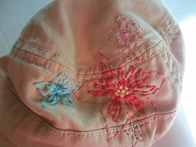 Baby Gap Tan embroidered flowers girls Hat toddler m/l 4-6 years adjustable