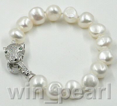 New 12-13MM White freshwater Cultured baroque pearl bracelet 7.5""
