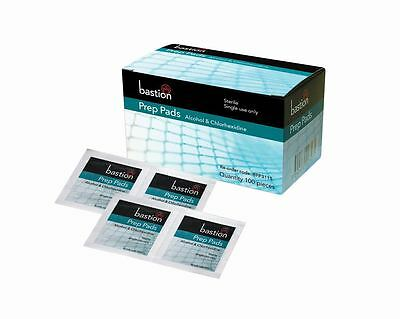 Bastion Prep Pads 70% Isopropyl Alcohol & Chlorhexidine Swabs Skin Wipes 100pcs