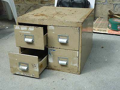 Vintage Retro 4 Drawer A5 Filing Cabinet Industrial Salvage 1958, Office Cd Rack
