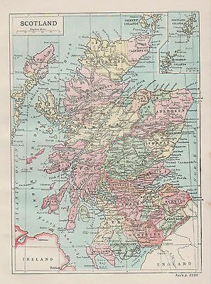 A small detailed map of Scotland c1904