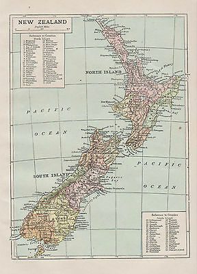 A small detailed map of New Zealand c1904