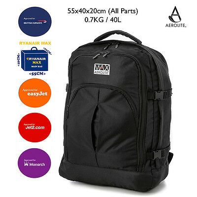 55x40x20cm Ryanair Cabin MAX Allowed Hand Luggage Black Backpack Rucksack Light