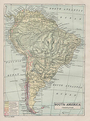A small detailed map of South America c1904
