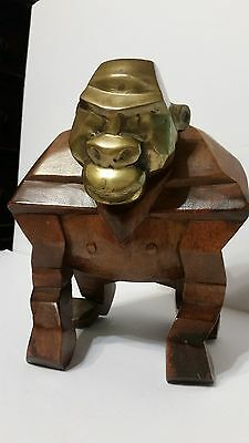 """RARE Vintage Hand Carved Gorilla Ape with Brass Head and Tail 8"""" x 9"""" Heavy"""