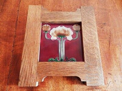 Vintage English Deco Art Nouveau Tile mounted in Oak Arts & Crafts Frame