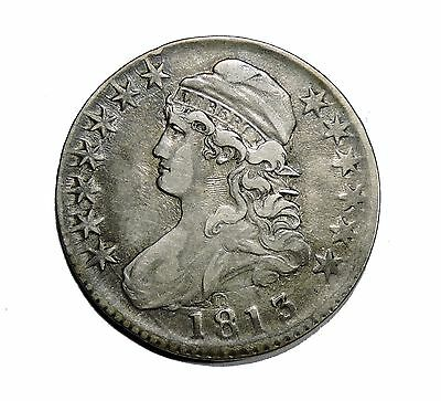 1813 Capped Bust Half Dollar VF+ Very Fine condition 50c silver coin