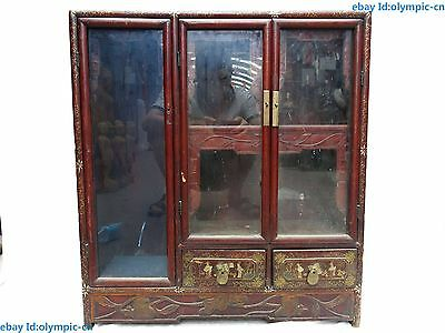 "25"" China old handwork  wood lacquerware Multi use Beautiful Cabinet Statue"