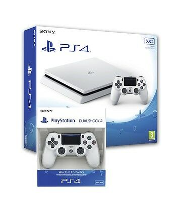 Ps4 Console 500Gb Slim Playstation 4 Slim Bianca + 2Nd Dualshock 4 White V2 Sony