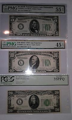 1934 Green Seal currency -- A set of CERTIFIED $5, $10 & $20 notes!