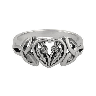 Scottish Thistle Silver Heart Ring 0735