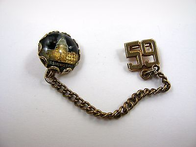 Vintage Collectible Pin: Washington D.C. 1959 Reverse Painted Glass