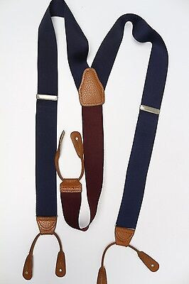 Brooks Brothers Solid Navy Blue Woven Nylon Braces Suspenders Long Made in USA