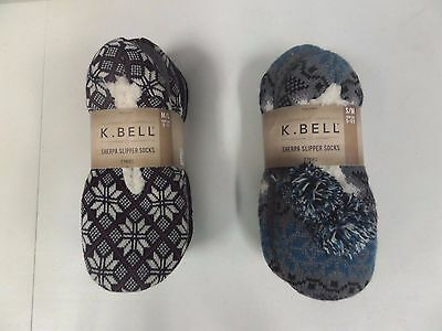 NWT Women's K Bell Sherpa Slipper Socks - 2 Pack -