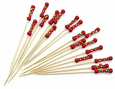 36 Handmade Cocktail Sticks Picks Yellow or Red BEADS Lace Cocktail Sticks Tooth