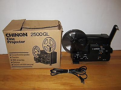 Chinon 2500GL Dual Super 8mm Adjustable Speed Movie Film Video Projector In Box