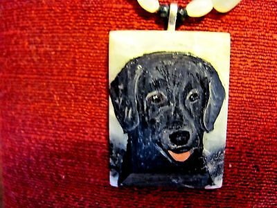 Flat coated Retriever hand painted on rectangular marble pendant/bead/necklace