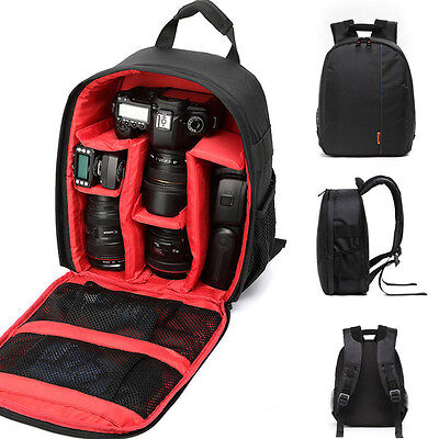 New Red Waterproof DSLR Camera Lens Backpack Case Bag For Nikon Canon Sony  -US