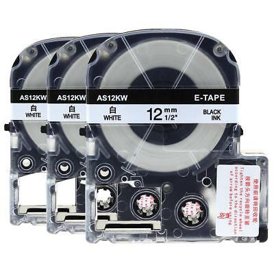 """3pk Compatible EPSON1 LC-4WBN9 SS12KW Label Tape Black on white 12mm 1/2"""" 8m"""