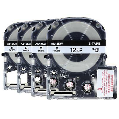 """4pk Compatible EPSON1 LC-4WBN9 SS12KW Label Tape Black on white 12mm 1/2"""" 8m"""