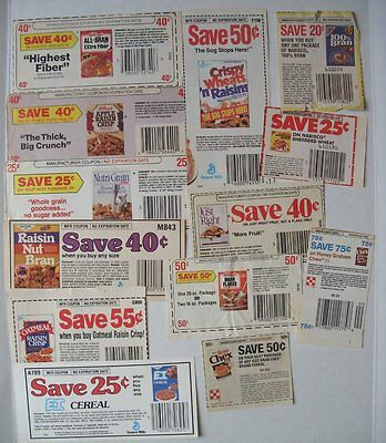 Vintage Lot 1980's General Mills, Ralston Purina, Kellogg Cereal Paper Coupons