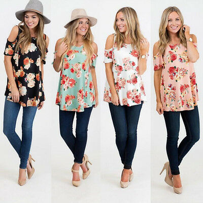Fashion Summer Short Sleeve Casual Loose Cold shoulder Floral Round Tops Blouses