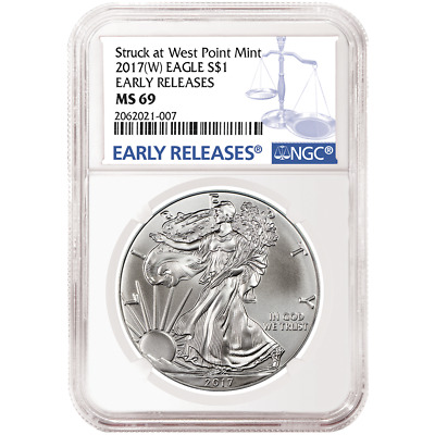 2017 (W) $1 American Silver Eagle NGC MS69 Blue ER Label