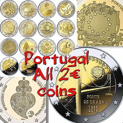 Portugal 2 Euro 17 All Commemorative Coins 2007 To 2016 New BUNC from Roll