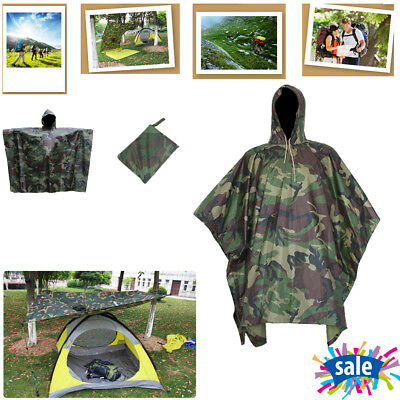 Waterproof Army with Hooded Ripstop Festival Rain Poncho Military Camping Hiking