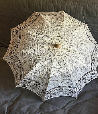 Apollo Embroidered Lace Sun Umberlla Ivory Parasol