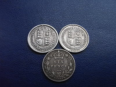 Victorian 'withdrawn type' silver sixpence, 1887 to 1889 (3 coins)