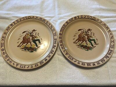 Wallace China Westward ho rodeo pattern large serving platter 13 1/4 inches