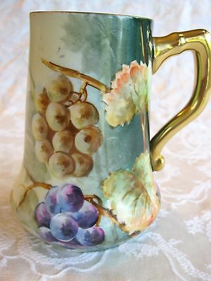 Antique B & H Limoges France Cup Mug Tankard Vase Beautiful Hand Painted Grapes