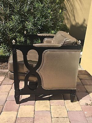 Old Hollywood Style armchair antique gold sequin covered in plastic. Black frame