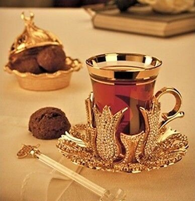 Turkish Coffee Tea Serving Cups Swarovski Coated Handmade Copper 1*4 PCS !SALE!