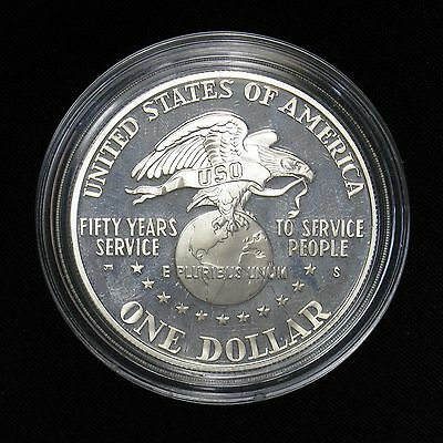 1991 USO 50th Anniversary Silver Dollar Proof Commemorative Coin Medal